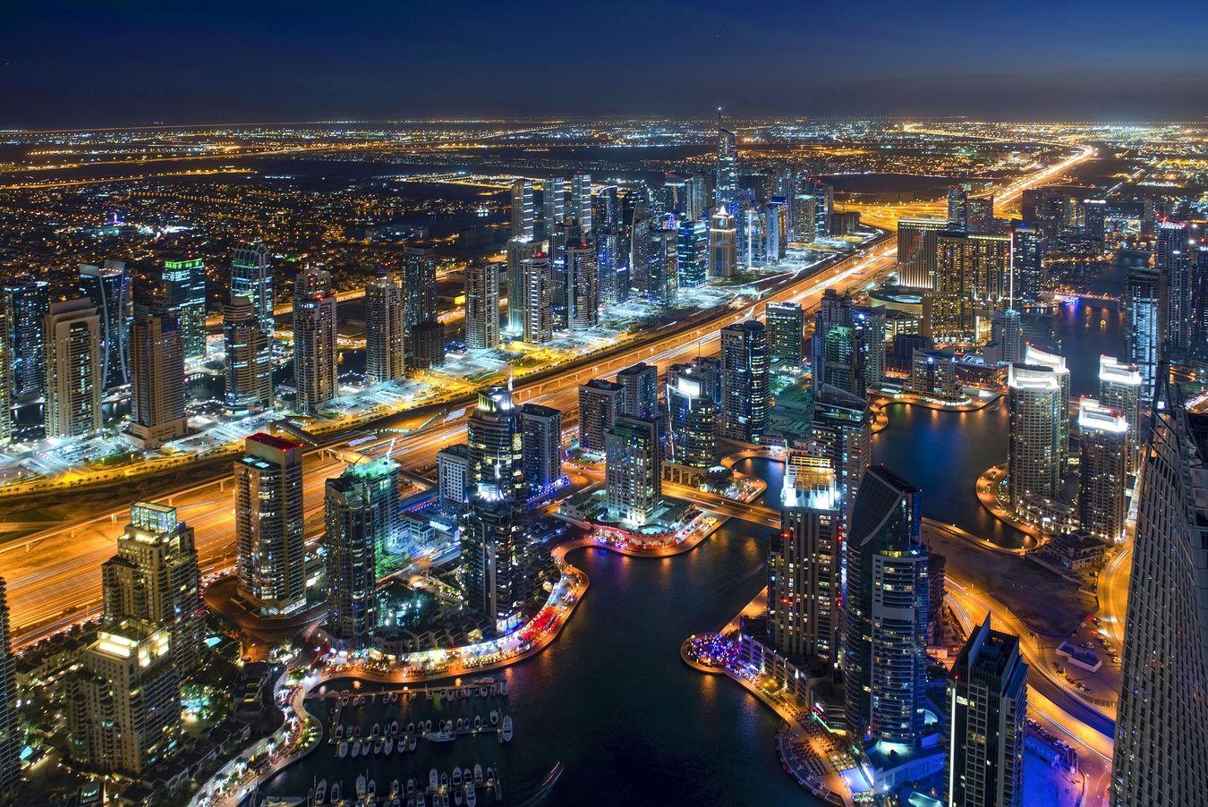 dubai city night aerial view
