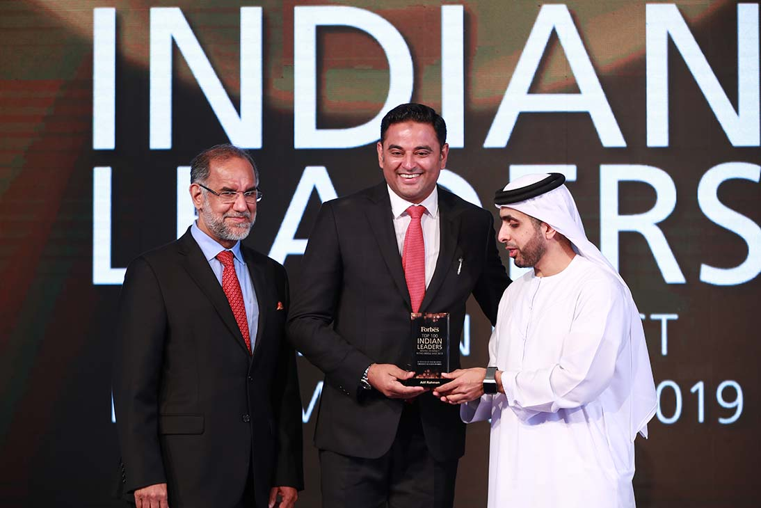 His Highness Sheikh Mohammed Bin Juma Al Maktoum, H.E. Navdeep Singh Suri, Ambassador of India to the UAE with Atif Rahman, Director and Partner at Danube Properties